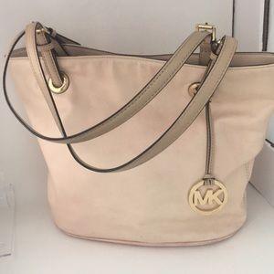 "Michael Kors pink leather ""Jet Set""tote purse (A)"